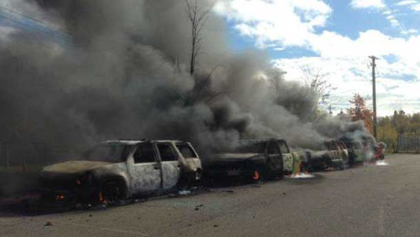 RCMP Cruisers aflame in Rexton New Brunswick