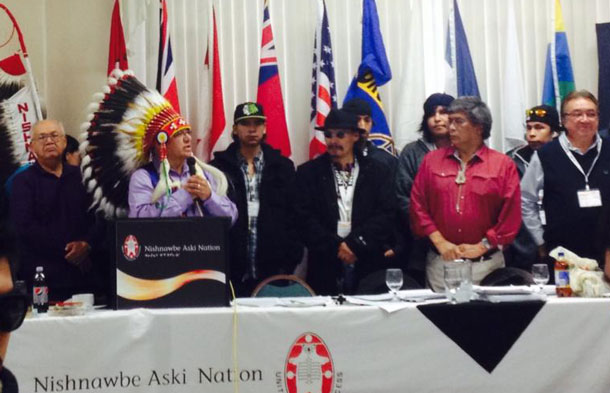 NAN Education Declaration with DFC and Matawa Students standing with NAN leadership - Photo by Clyde Brandon Moonias