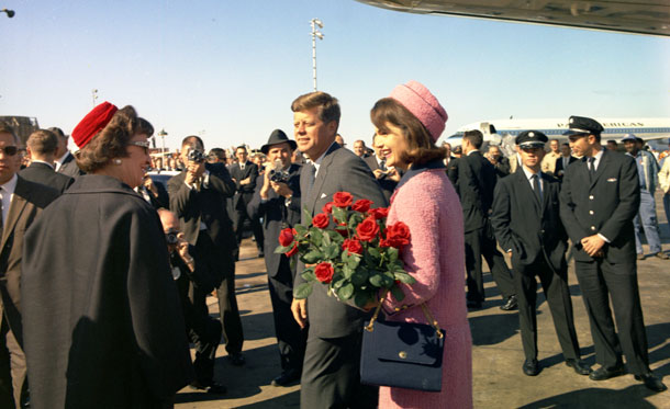 President Kennedy and First Lady arriving at Love Field in Dallas - Photo from John F. Kennedy Presidential Library