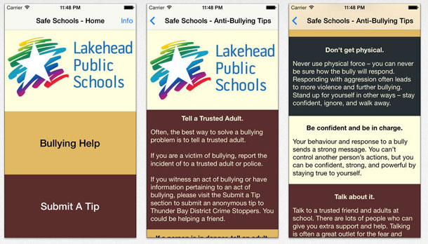 The Lakehead Public Schools Safe Schools App, available for free download from the Itunes Store and on the Lakehead Public Schools website, will be officially launched on Monday, November 18. The app was designed by Sir Winston Churchill Collegiate and Vocational Institute student Phil Bystrican.