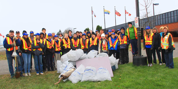 Forty seven bags of trash were cleaned up around the Thunder Bay Police Service Balmoral Street Headquarters