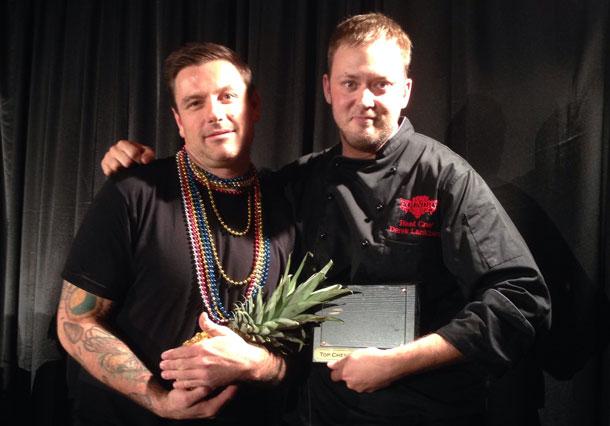 Chuck Hughes congratulating Foundry's Derek Lankinen after being awarded Top Chef 2013