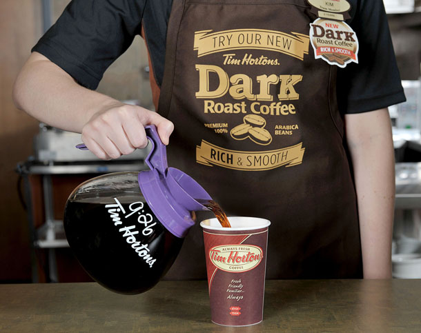 Tim Hortons will share their new Dark Roast coffee blend in two test markets. The new Tim Hortons Dark Roast coffee is available at participating Tim Hortons locations in Columbus, Ohio starting today and will be available at participating Tim Hortons restaurants in London, Ontario