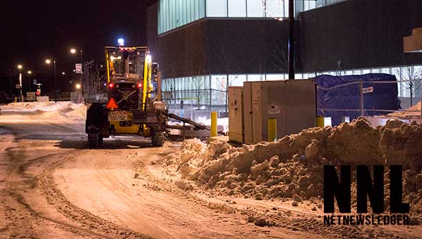 Massive snow banks from the snow along Justice Avenue in the Fort William Business District