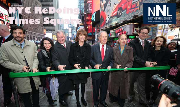 Redesigned public plaza between 42nd and 43rd Sts is first of five, continuing the Times Square transformation