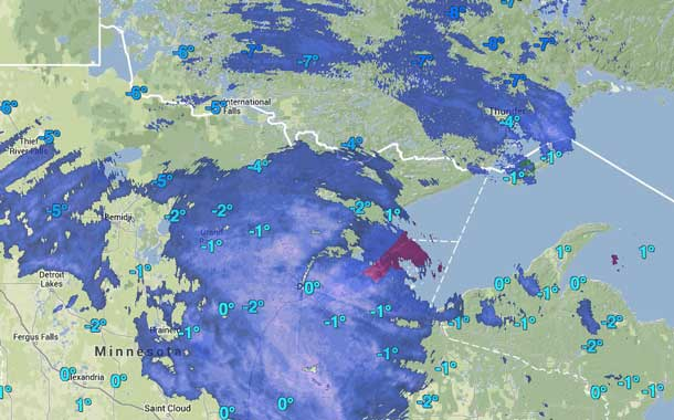 Weather map showing storm system nearing Thunder Bay