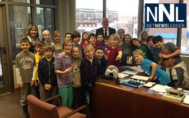 The Grade Five Class at St. Bernard School toured City Hall with Mayor Hobbs.