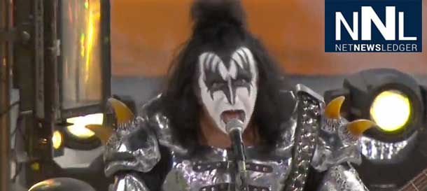 Gene Simmons Rocks the Dodger Stadium Stage during the NHL Outdoor Classic in Los Angeles
