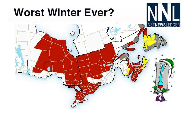 Arctic Cold and Winter Storms are hammering Ontario and the US Eastern Seaboard.