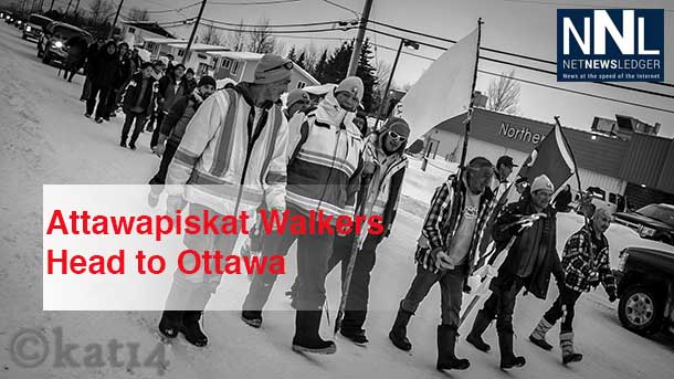 Walkers from Attawapiskat head to Ottawa to seek a meeting with the Prime Minister. Photo by Chris Kat