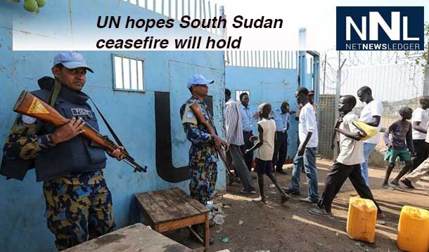 UN peacekeepers in South Sudan securing the entrance to their Juba compound. Photo: UNMISS/Isaac Billy