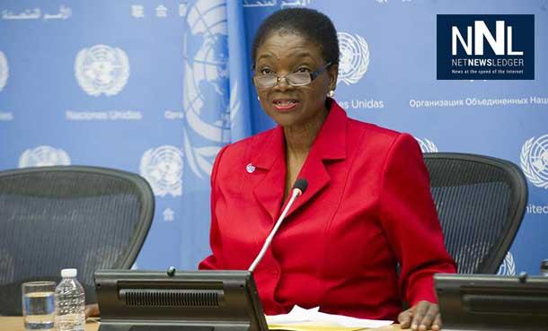 Under-Secretary-General for Humanitarian Affairs and Emergency Relief Coordinator Valerie Amos briefs the press. UN Photo/Evan Schneider