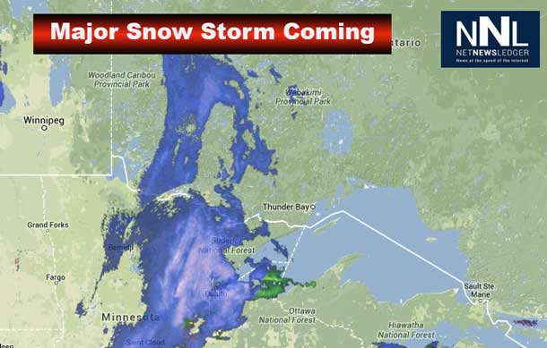Two weather systems, both tracking toward the Great Lakes, will merge and rapidly intensify into a major winter storm by this evening.