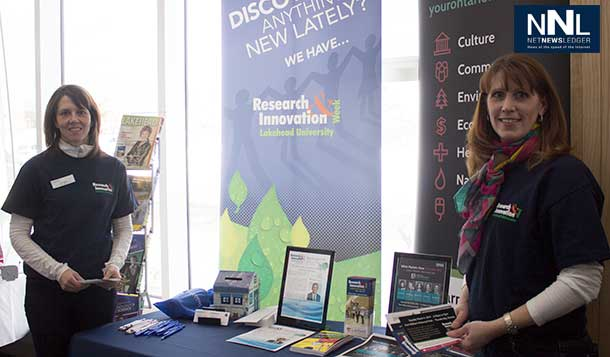 Lakehead University Booth promoting Research and Innovation Week in Thunder Bay
