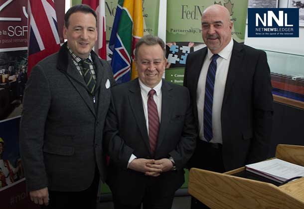 Minister Rickford, Minister Gravelle and Mayor Hobbs at Convention and Event Centre Announcement