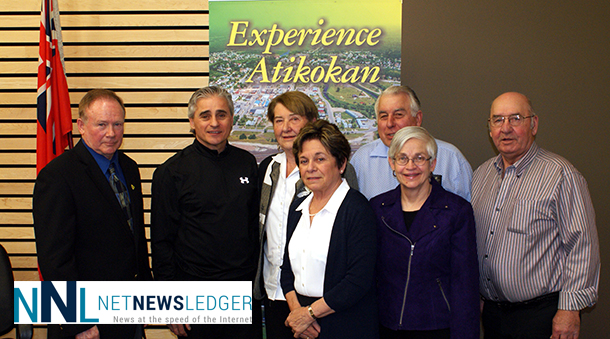 Pictured [L-R] Atikokan Mayor Dennis Brown; Bill; Atikokan Town Councillors Marjorie Lambkin, Marlene Davidson, Jerry Duhamel, Mary Makarenko, and Bob Gosselin.