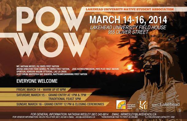 Lakehead University Native Students Association (LUNSA) Pow Wow starts Friday Night at LU