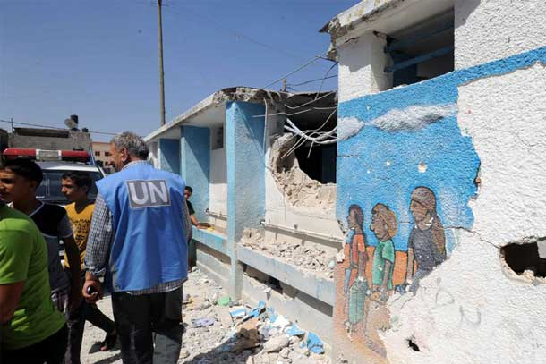 The Jabalia Elementary Girls School serving as a shelter for Palestinians in Gaza was hit by shells on 30 July 2014. Photo: UNRWA Archives/Shareef Sarhan