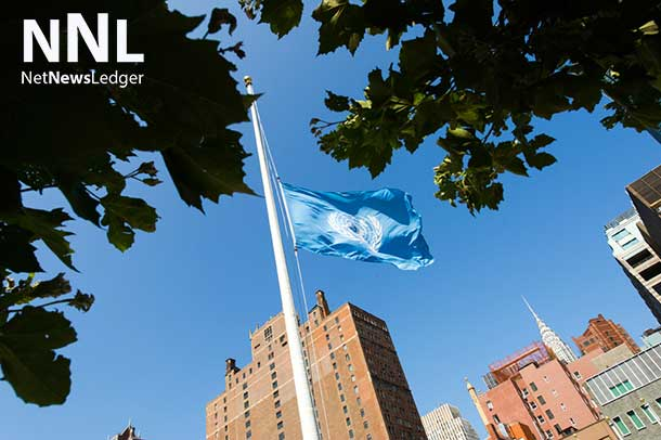 The UN flag flies at half-mast at the Organization's Headquarters in New York, in memory of fallen colleagues who lost their lives in the conflict in Gaza. UN Photo/Mark Garten