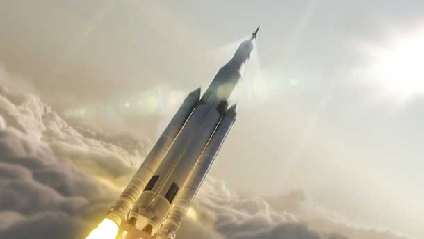 Artist concept of NASA's Space Launch System (SLS) 70-metric-ton configuration launching to space. SLS will be the most powerful rocket ever built for deep space missions, including to an asteroid and ultimately to Mars. Image Credit: NASA/MSFC