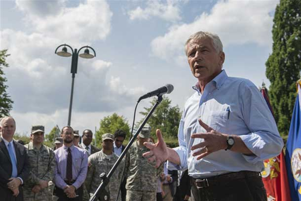 Defense Secretary Chuck Hagel speaks to service members and reporters at U.S. European Command headquarters in Stuttgart, Germany, Aug. 6, 2014. DoD photo by Navy Petty Officer 2nd Class Sean Hurt