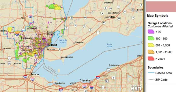 DTE Map of Detroit Power Outage