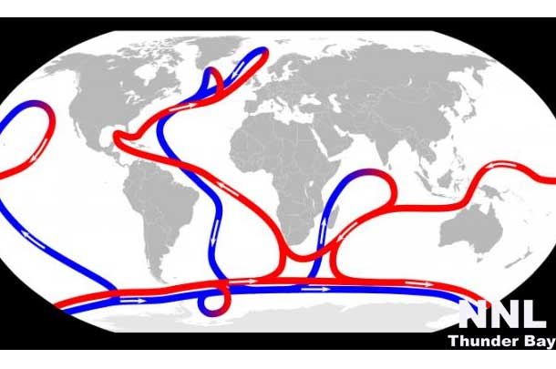 The ocean conveyor transports water and heat through the deep ocean basins. Credit: NASA