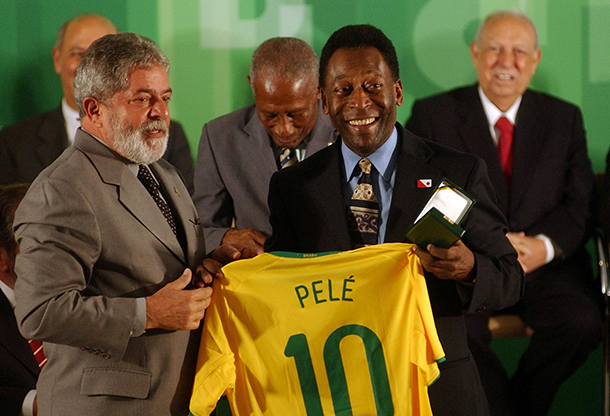 Brazil President Lula and Pelé in commemoration for 50 years since the first World Cup title won by Brazil in 1958, at the Palácio do Planalto, 2008