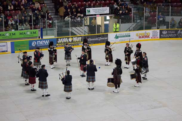 Thunder Bay Police Pipe and Drum at Fort William Gardens for Remembrance Day 2014