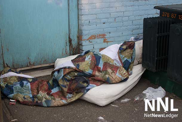 A walk in downtown Fort William finds evidence that people are sleeping outside