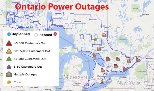 Hydro One Outages Map NetNewsLedger   Hydro One Reports 31,000 Customers without Power