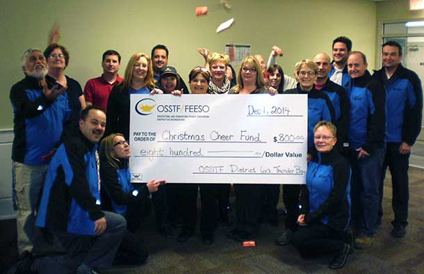 Sharing Christmas Cheer with chocolate the OSSTF in Thunder Bay