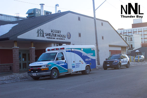 Thunder Bay Police unit and Superior EMS Unit at Shelter House