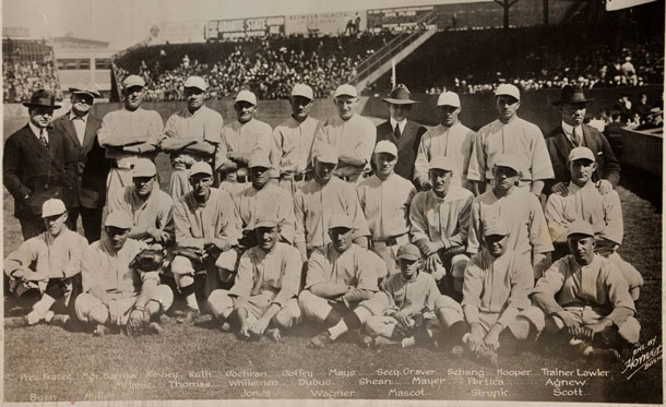 Classic photo of the 1918 Boston Red Sox. Babe Ruth is in the front row.