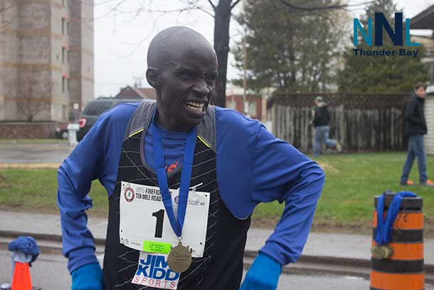 Luka Kip Kemoi catches his breath after a very fast ten mile win in the 2015 Firemans Ten Mile Road Race