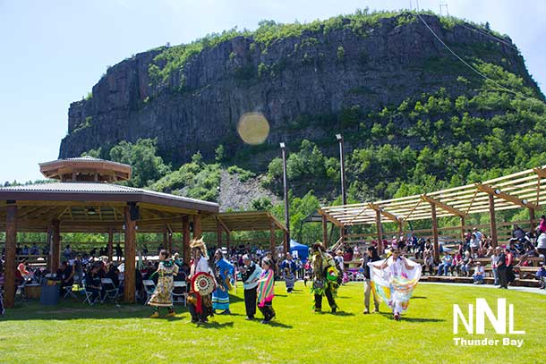 Anemki Wajiw in the background at the Fort William First Nation National Aboriginal Day celebrations
