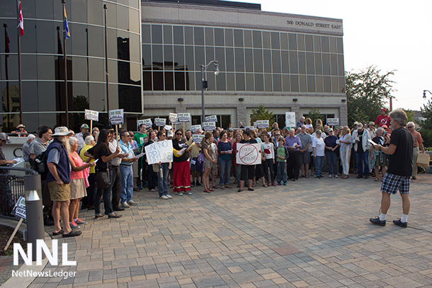 A gathering at Thunder Bay City Hall in support of a resolution before Thunder Bay City Council to oppose the East West Pipeline #tbcc