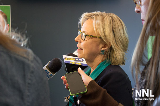 Green Party Leader Elizabeth May speaks with media at Press Conference in Thunder Bay