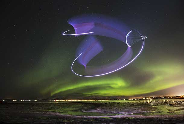 Llorens, one of the world's best acro-paragliders, has long craved to combine his passion for flying with the famed Northern Lights but the eerie lightshow at the magnetic poles had until now proved an unwilling partner