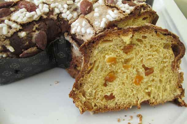 Colomba is a fruity delight, with candied oranges inside and almonds on the top. Credit: Copyright 2016 Cesare Zucca