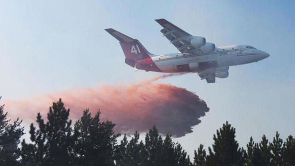 Two USFS BAE-146 retardant air tankers began air attack on Kenora Fire 018 on the afternoon of May 10 as part of a quick-strike agreement between Ontario, Manitoba, the U.S and the Great Lakes Forest Fire Compact.