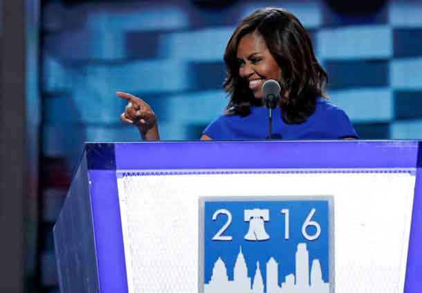 U.S. first lady Michelle Obama speaks at the Democratic National Convention in Philadelphia, Pennsylvania, U.S. July 25, 2016. REUTERS/Mark Kauzlarich