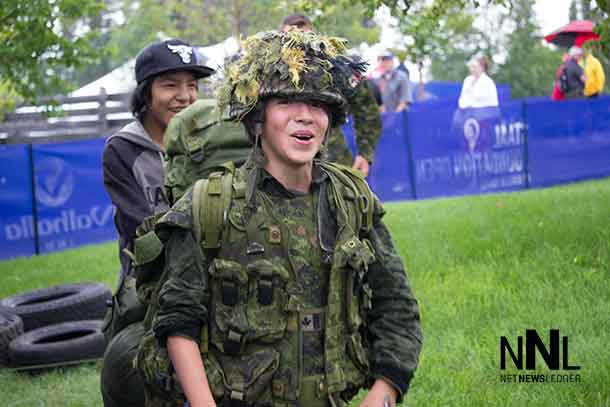 Lakota Perreault tests his skill at the Canadian Army obstacle course at the Staal Foundation Open.