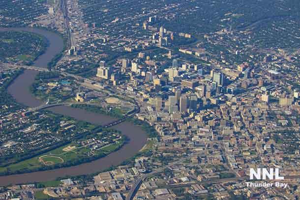 City of Winnipeg - Downtown - taken from 6500 feet aboard Kasper Air Quest Kodiak