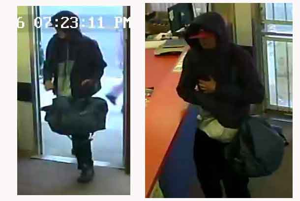 Security camera images from Barb's Laundromat of suspect