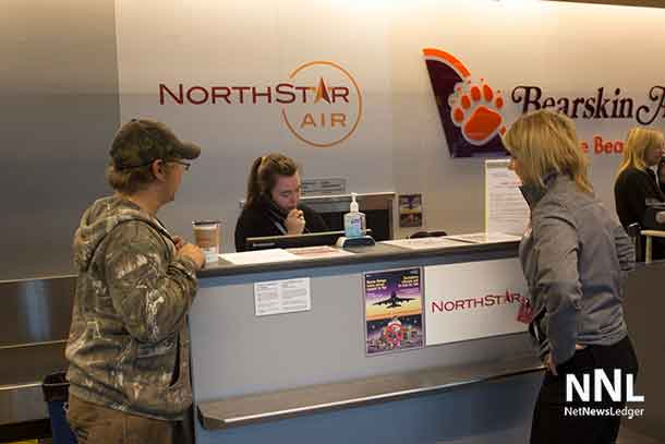 Checking in at North Star Air in Thunder Bay at the International Airport