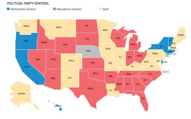 USA State Legislature by Party 2016
