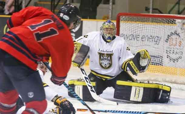 Brock Badgers Edged the Lakehead Thunderwolves in hockey action at Fort William Gardens