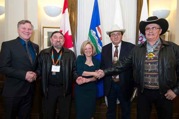 Minister Feehan, Chief Stanley Grier, Premier Notley, Chief Roy Fox, Chief Joe Weasel Child