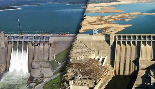 Impact of drought on Folsom Lake in California